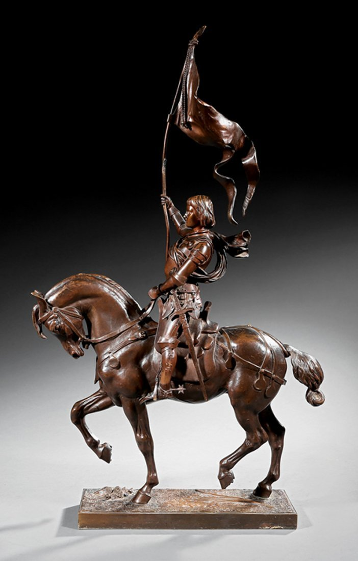 Continental Bronze Figure of Joan of Arc on a Horse - 2
