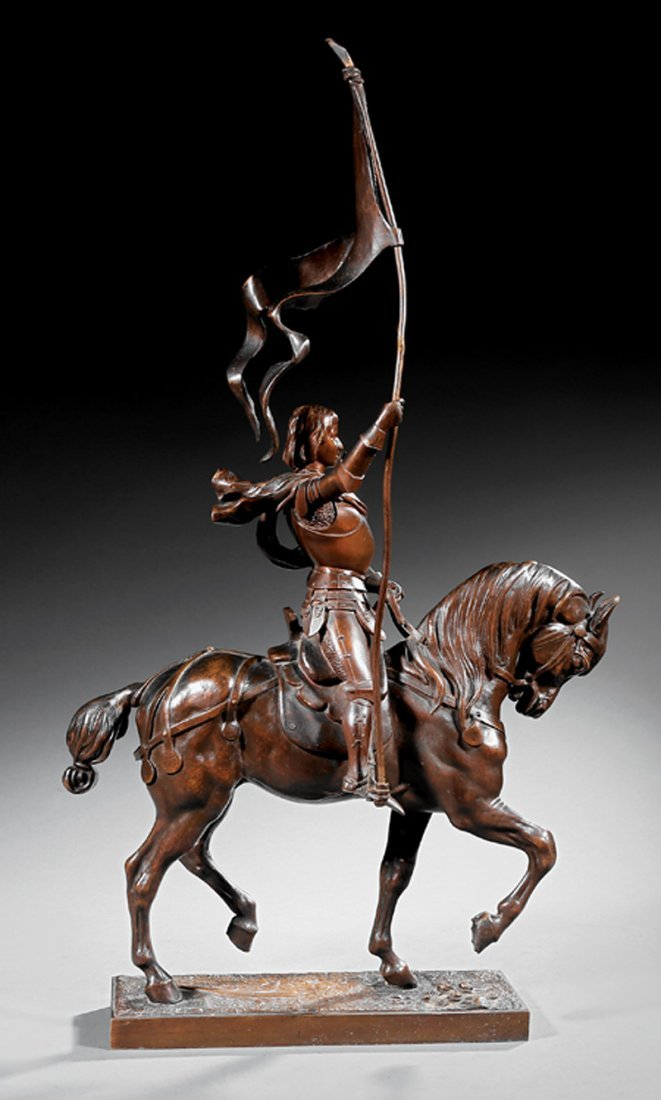 Continental Bronze Figure of Joan of Arc on a Horse - 3