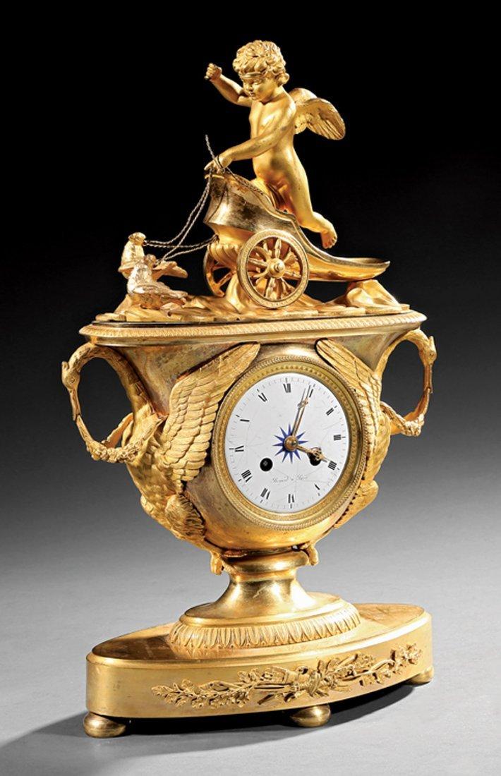 "Empire Gilt Bronze Figural Clock, ""Renard a Paris"""