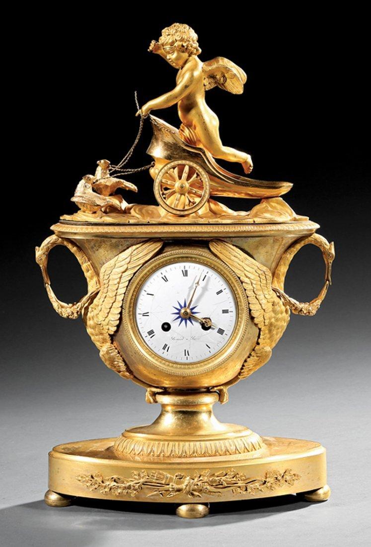 "Empire Gilt Bronze Figural Clock, ""Renard a Paris"" - 2"