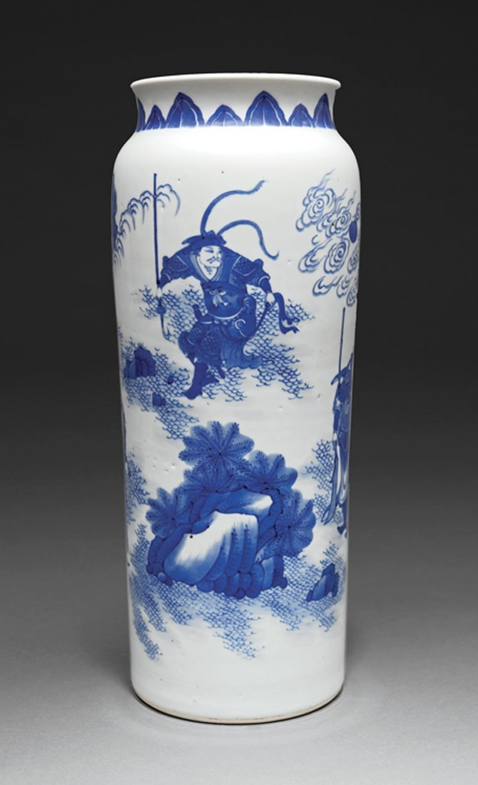 Chinese Blue and White Porcelain Sleeve Vase - 2