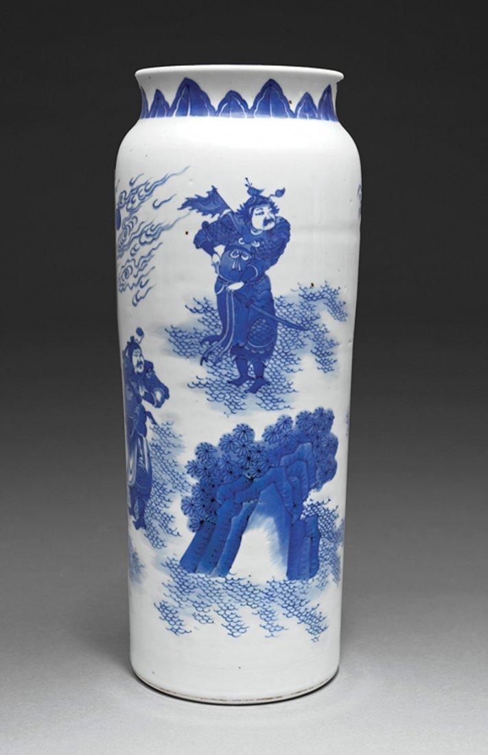 Chinese Blue and White Porcelain Sleeve Vase - 3