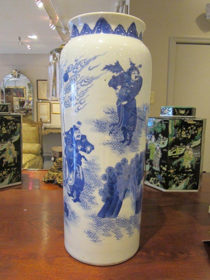 Chinese Blue and White Porcelain Sleeve Vase - 9