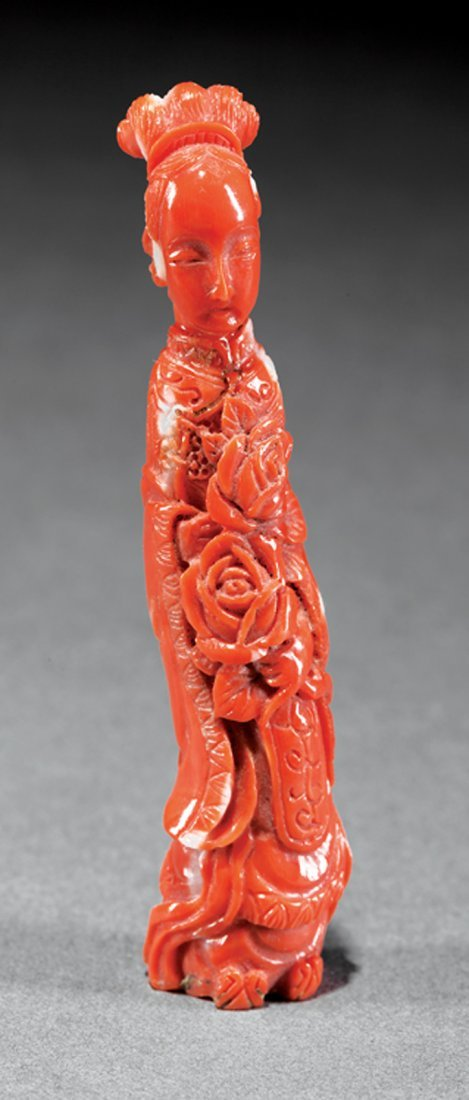 Chinese Coral Figure of a Beauty