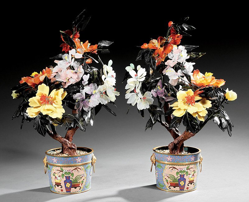 Chinese Hardstone Trees in Cloisonné Enamel Pots