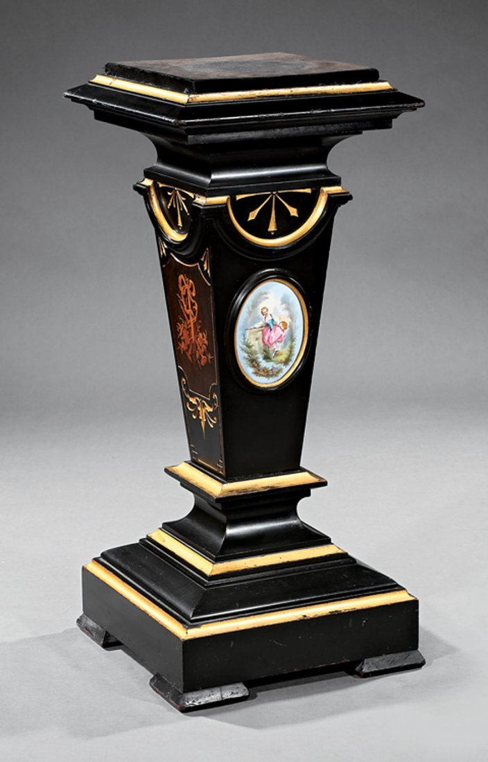 Ebonized, Parcel Gilt and Porcelain-Mounted Pedestal