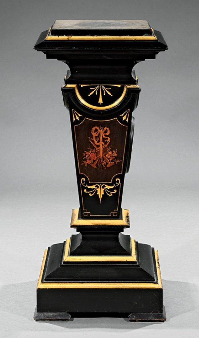 Ebonized, Parcel Gilt and Porcelain-Mounted Pedestal - 2