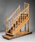 George III-Style Grain-Painted Library Steps