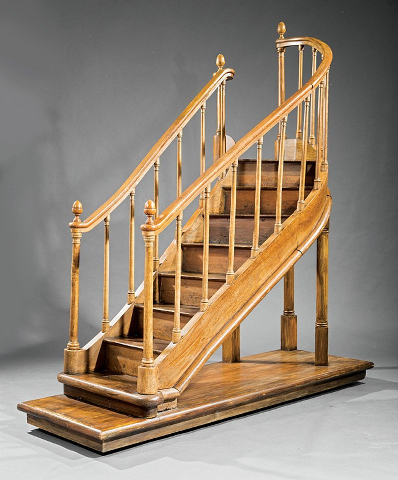 George III-Style Grain-Painted Library Steps