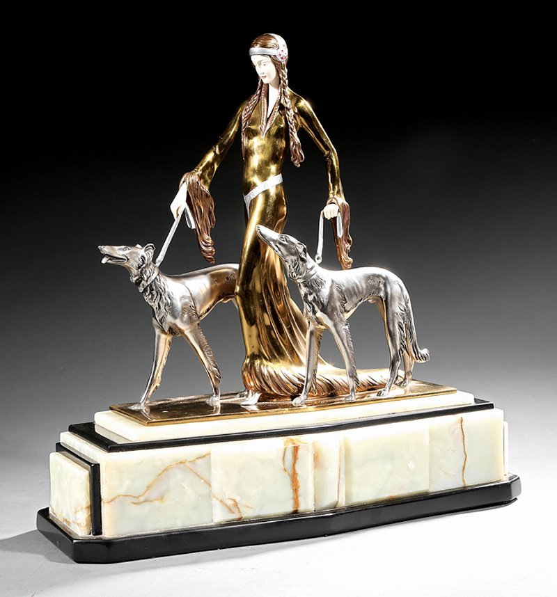 Art Deco Patinated Bronze of a Lady with Greyhounds