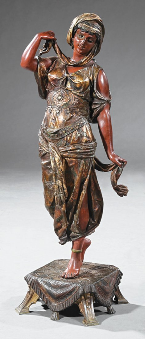 Polychromed and Patinated Bronze of an Exotic Lady