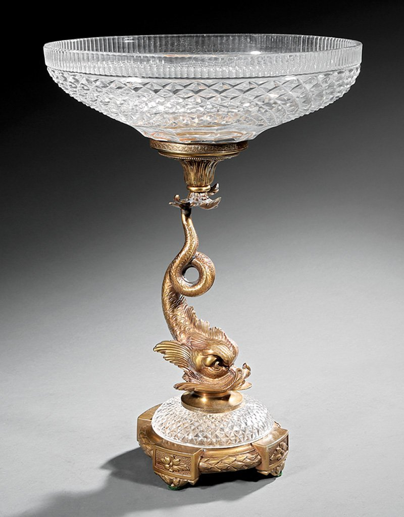 French Gilt Bronze and Cut Crystal Centerpiece