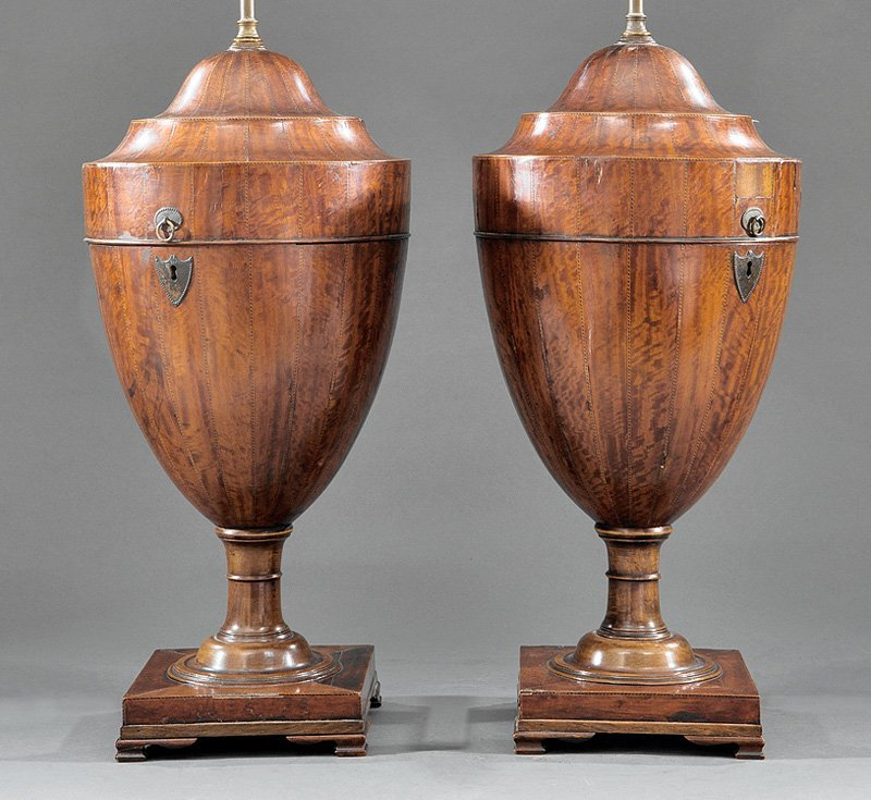 Pair of George III Inlaid Mahogany Cutlery Urns