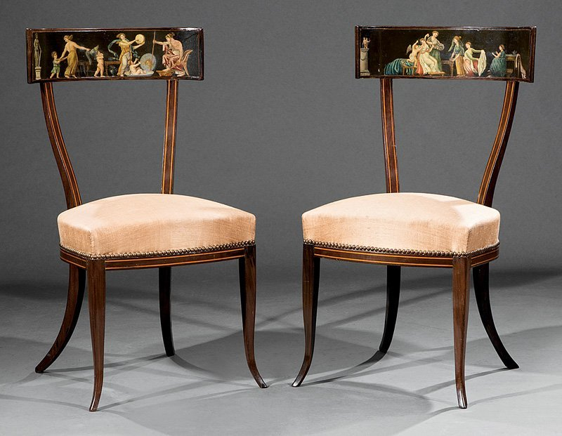 Inlaid Mahogany and Paint-Decorated Klismos Chairs