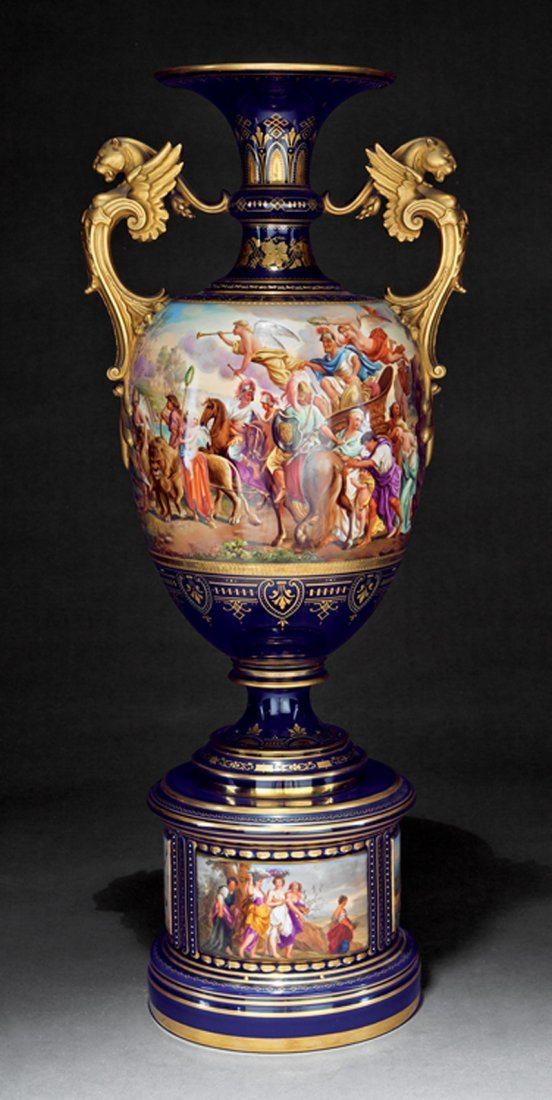 Austrian Polychrome, and Gilt Porcelain Amphora Vase