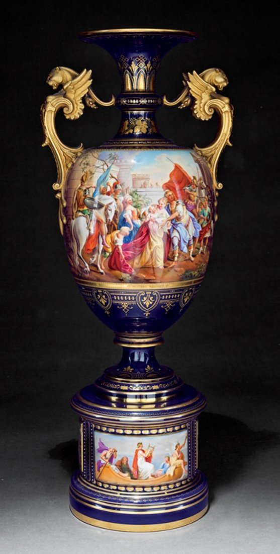 Austrian Polychrome, and Gilt Porcelain Amphora Vase - 2