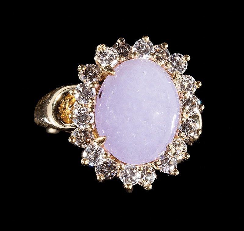 Gump's Yellow Gold, Lavender Jade, Diamond Ring - 2