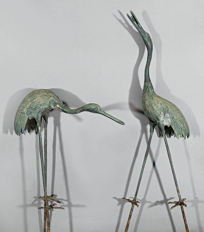 Pair of Patinated Bronze Garden Figures of Cranes