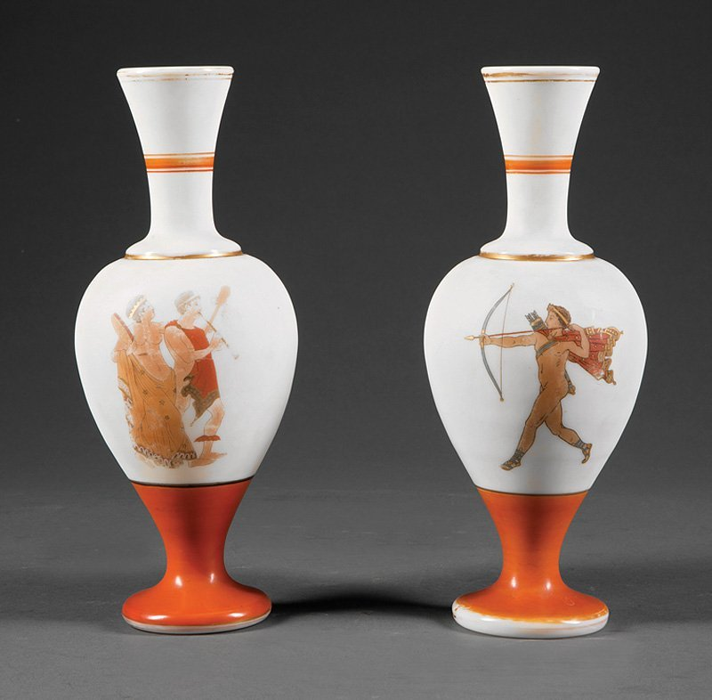 Pair of French Opaline Glass Vases in the Neo-Gre