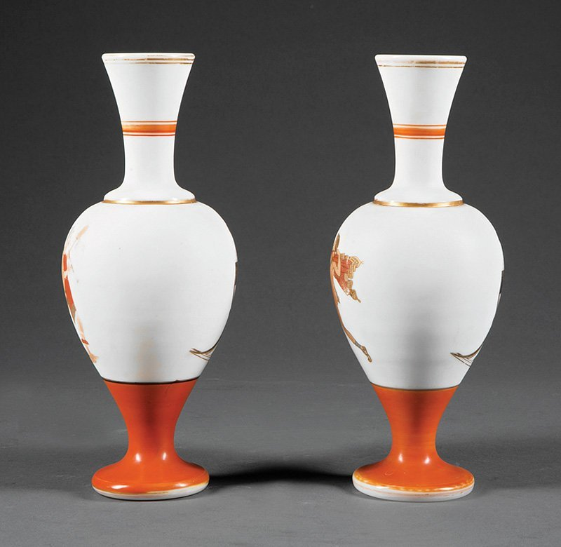Pair of French Opaline Glass Vases in the Neo-Gre - 2