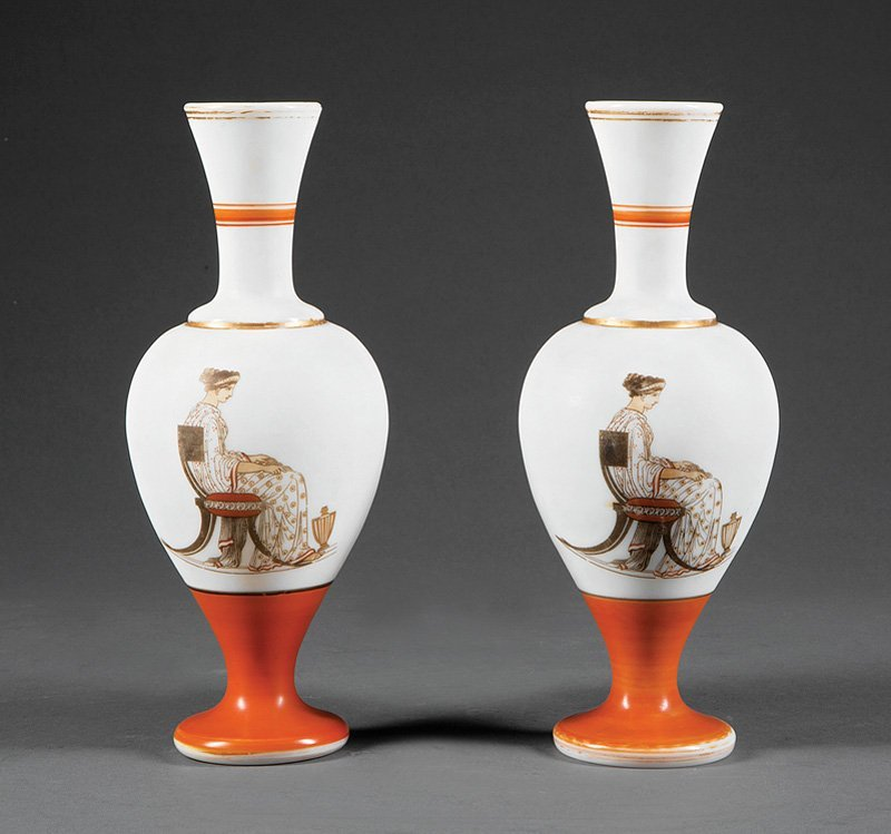 Pair of French Opaline Glass Vases in the Neo-Gre - 3
