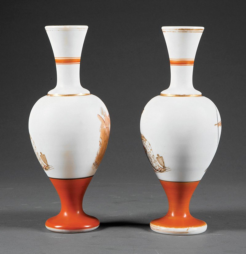 Pair of French Opaline Glass Vases in the Neo-Gre - 4