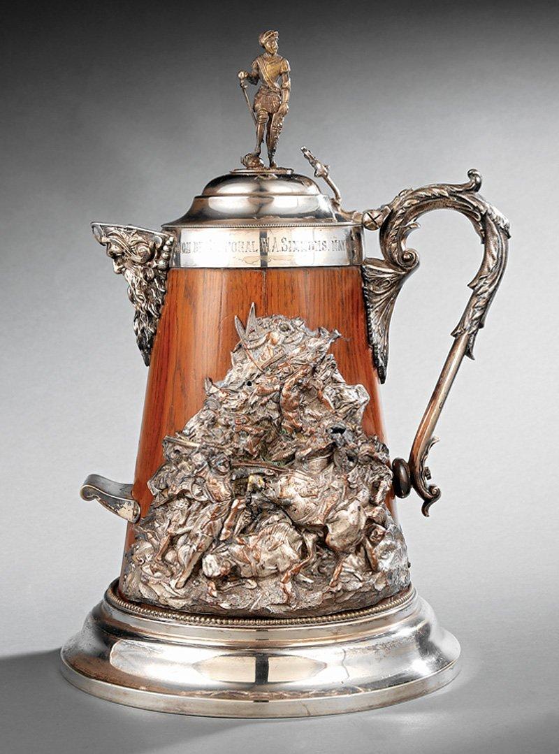 Victorian Silverplate-Mounted Oak Ice Water Pitcher