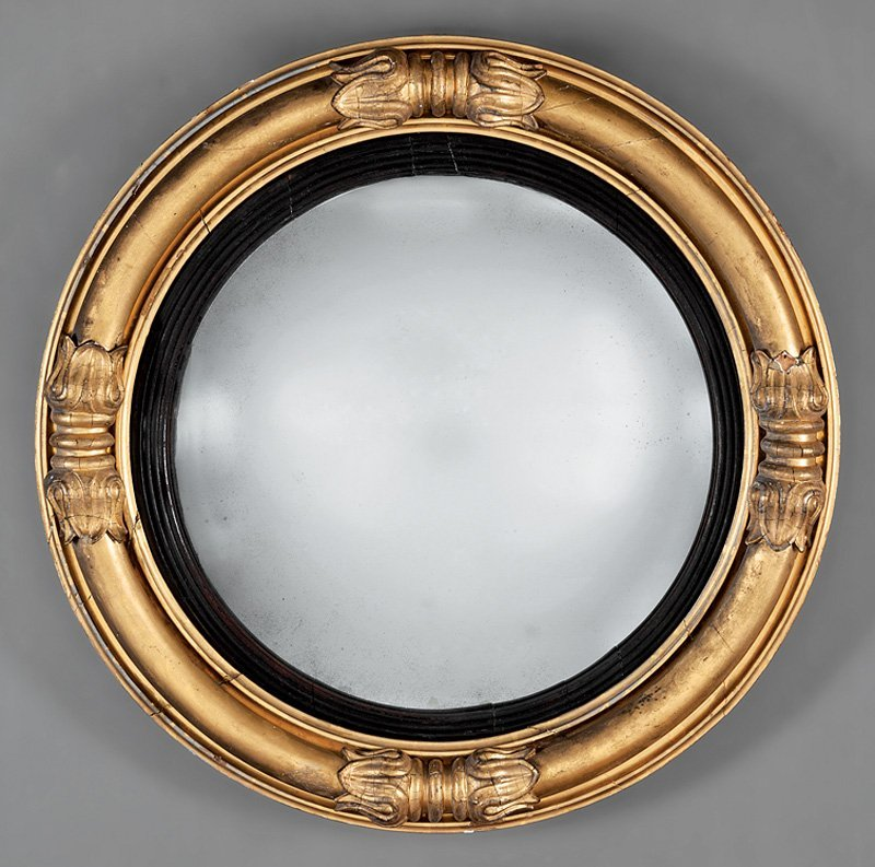 American Classical Carved Giltwood Bullseye Mirror
