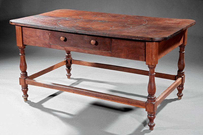 Southern Carved Walnut Farm Table