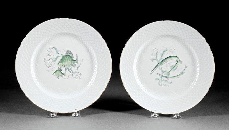 Twenty-Nine Porcelain Fish Plates, Guerin