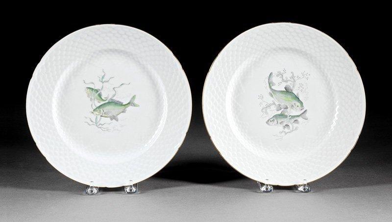 Twenty-Nine Porcelain Fish Plates, Guerin - 3
