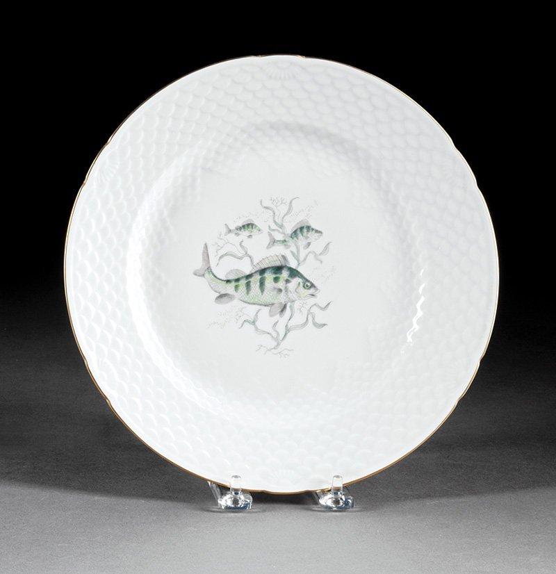 Twenty-Nine Porcelain Fish Plates, Guerin - 6
