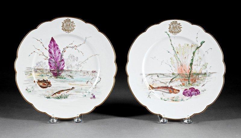 Twenty-Nine Porcelain Fish Plates, Guerin - 7