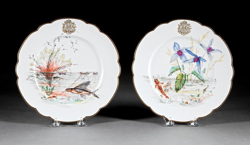 Twenty-Nine Porcelain Fish Plates, Guerin - 8