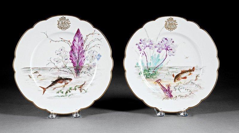Twenty-Nine Porcelain Fish Plates, Guerin - 9
