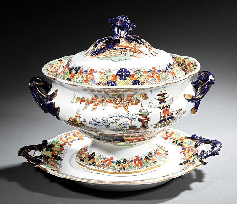 English Ironstone Soup Tureen and Underplate