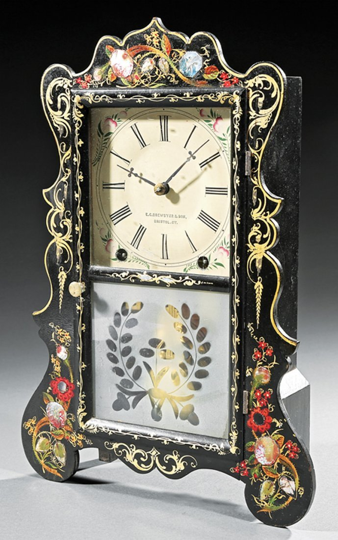 E. C. Brewster and Sons Ebonized Mantel Clock