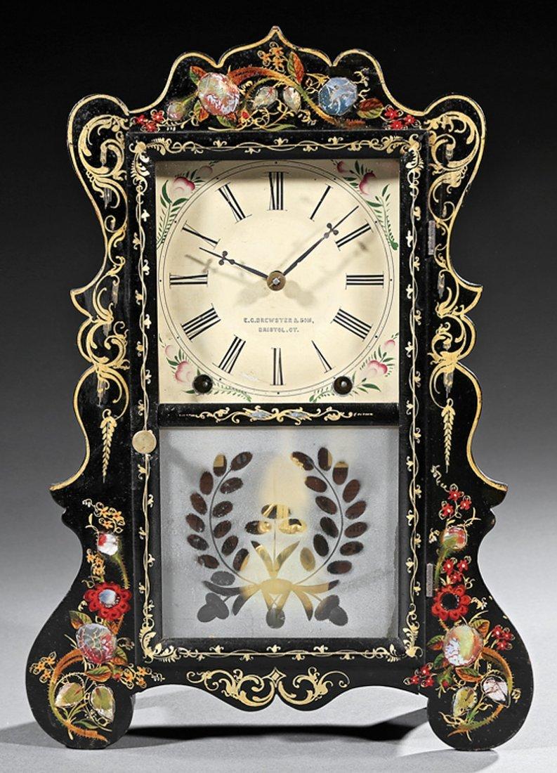 E. C. Brewster and Sons Ebonized Mantel Clock - 2
