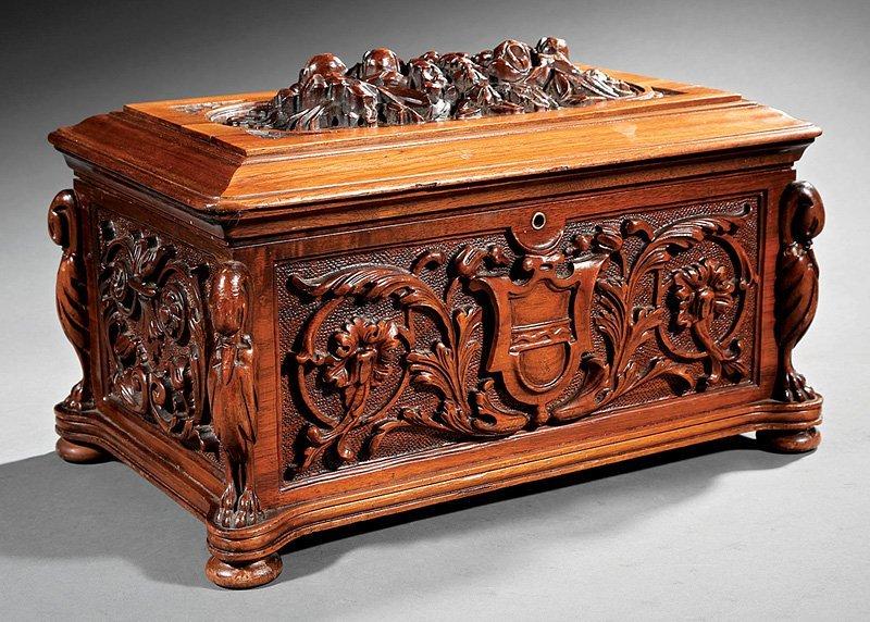 Renaissance Revival Carved Walnut Coffer