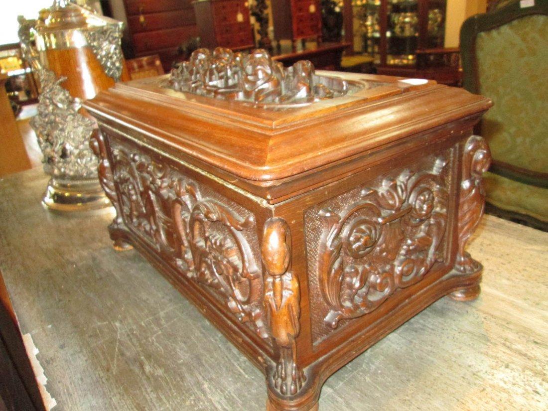 Renaissance Revival Carved Walnut Coffer - 4