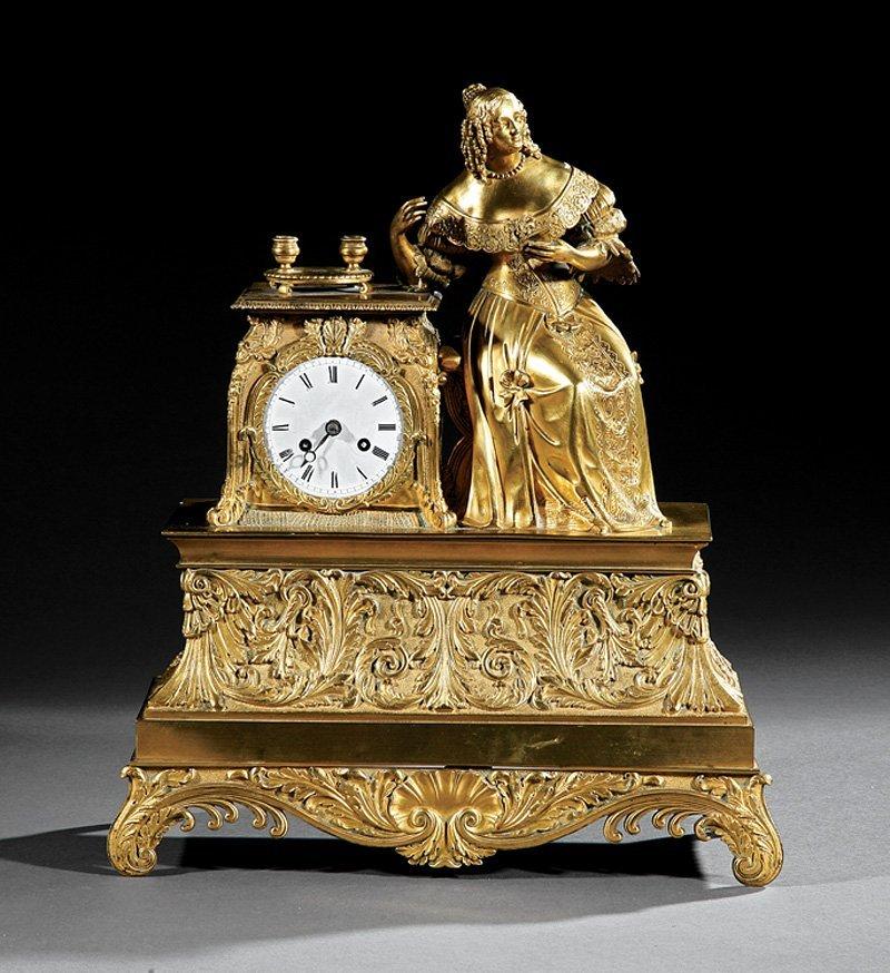 Napoleon III Gilt Bronze Figural Mantel Clock