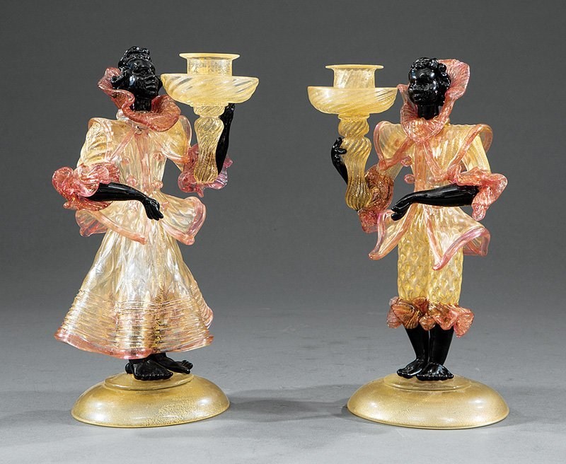 Pair of Venetian Glass Blackamoor Candlesticks