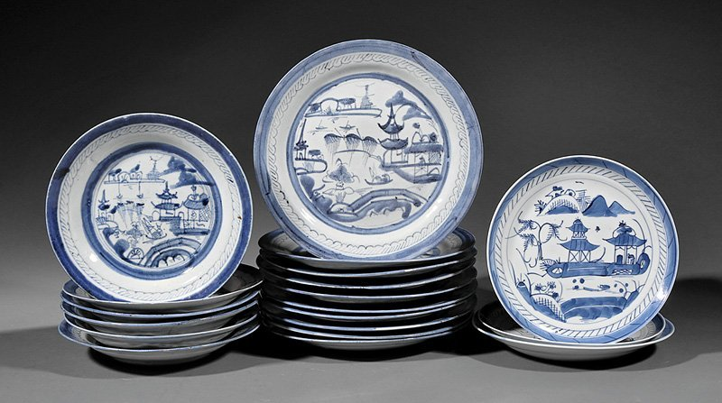 Chinese Export Canton Blue and White Dishes