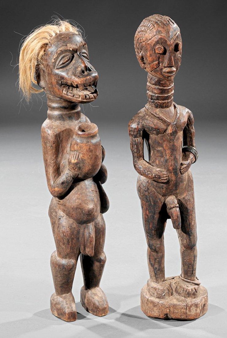 Two African Wood Standing Male Figures