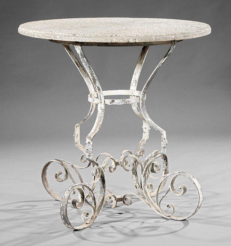 Italian Terrazzo & Painted Wrought Iron Garden Table