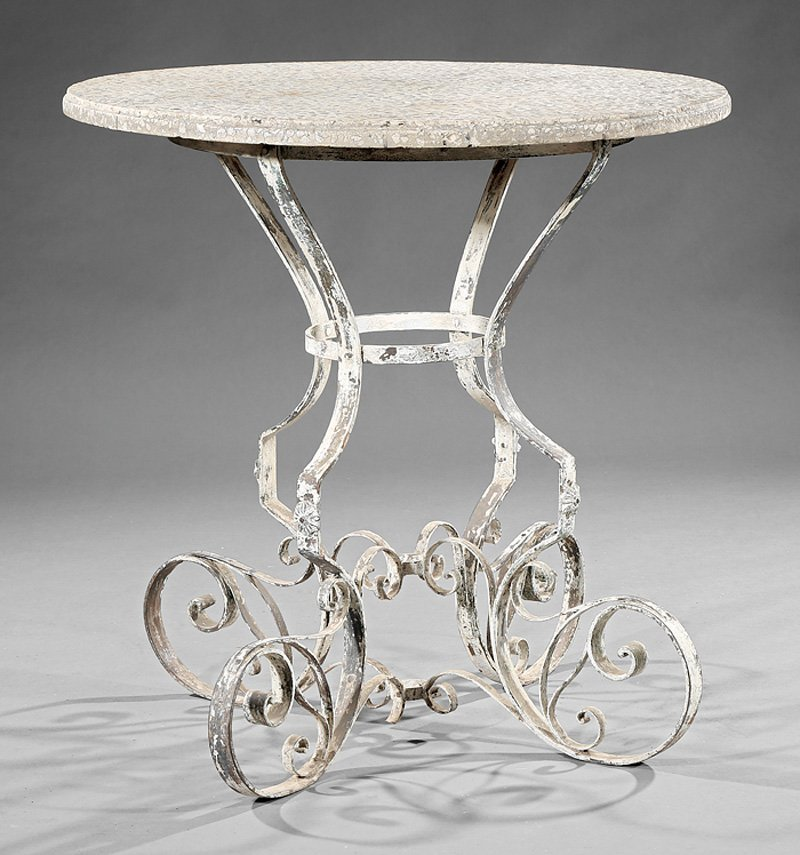 Italian Terrazzo & Painted Wrought Iron Garden Table