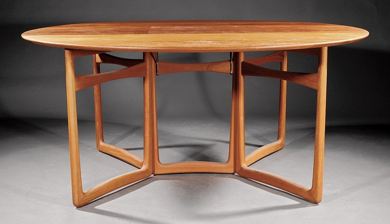 F.F. France Teakwood Drop-Leaf Dining Table