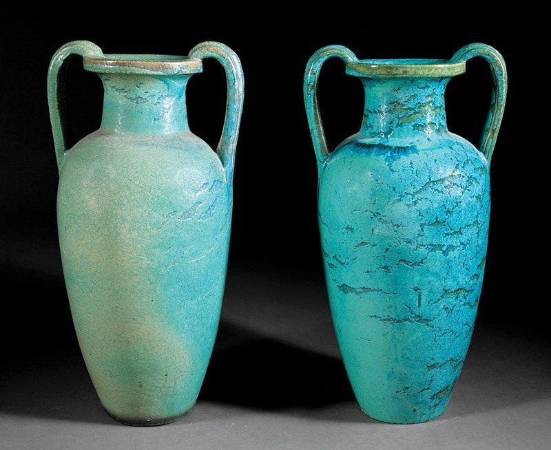 Glazed Pottery Urns  attr. Galloway Terracotta Co.
