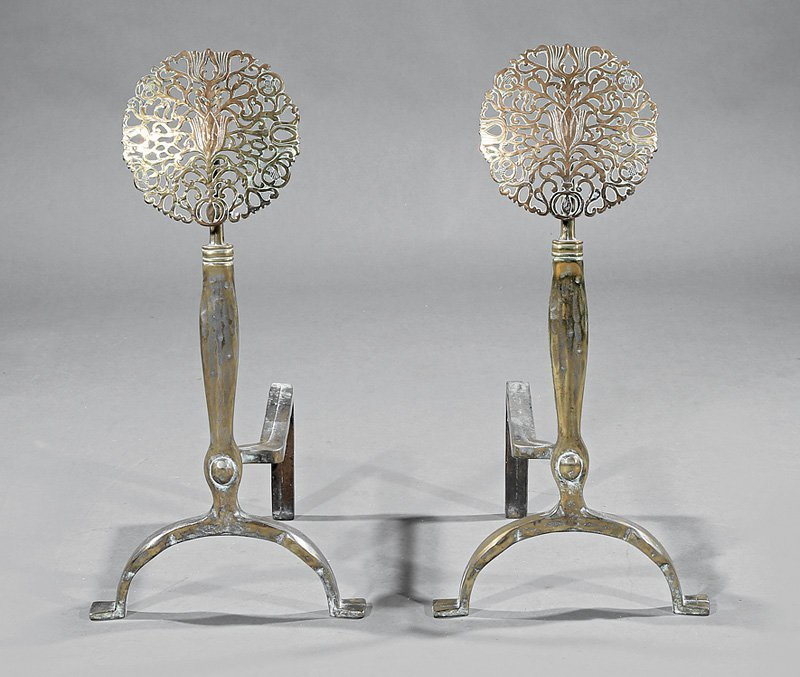Pair of Arts and Crafts Brass Andirons