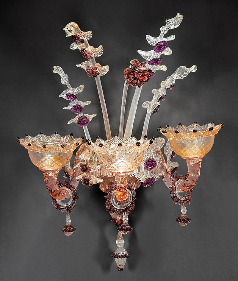 Pair of Venetian Glass Three-Light Sconces